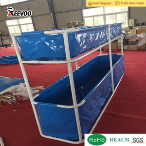Above ground portable pvc collapsible fish pond, double tier fish tank for farm and garden