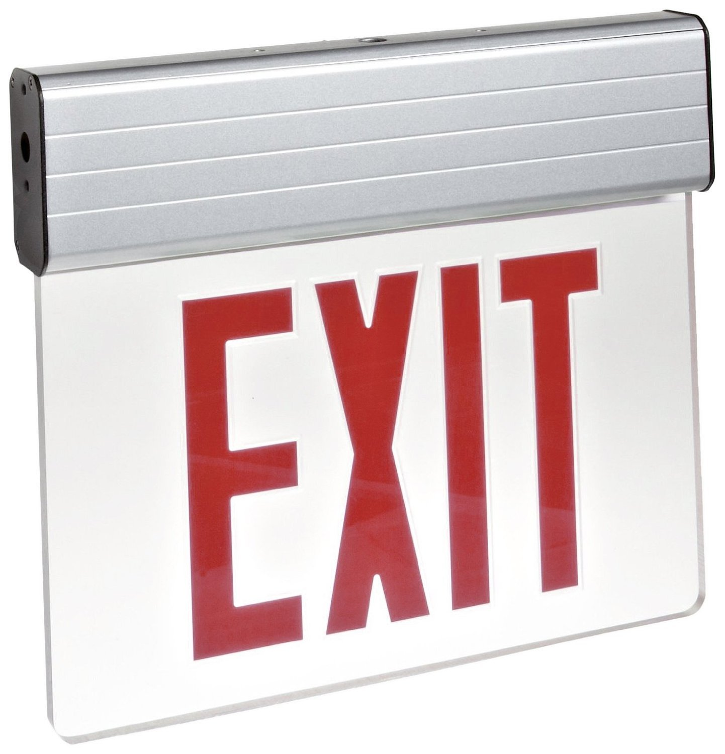 Morris Products 73310 Surface Mount Edge Lit LED Exit Sign, Red on Clear Panel Color, Anodized Aluminum Housing (5 Pack)