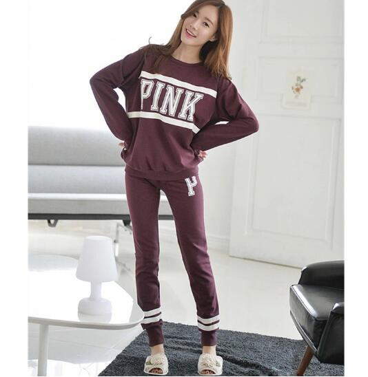 Winter Womens Pink Letter Casual Pyjamas Pj Set Long Sleeve Purple Pajama Top Bottoms Ladies Winter Nightwear Loungewear Pajamas