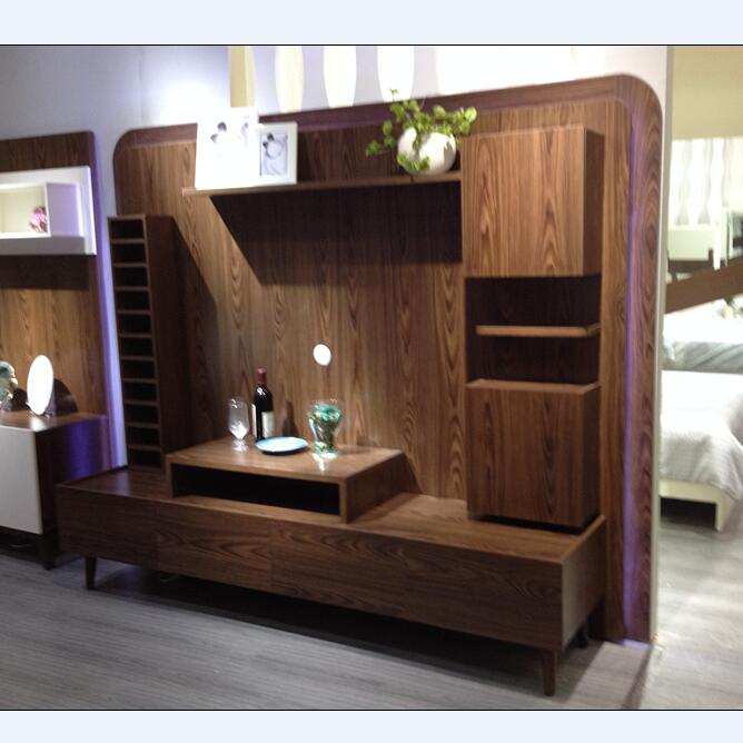 Wooden New Model Tv Cabinet With Showcase/living Room Led