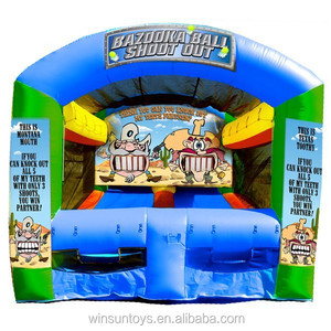 Inflatable sport games bazooka ball shoot out game