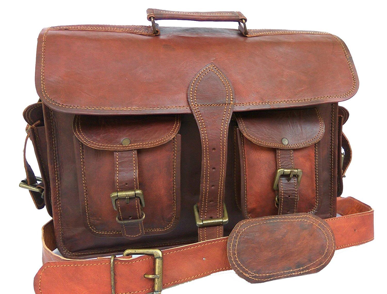 "LEATHER BAGS 4 YOU 15"" Leather Bag Vintage Genuine Leather Laptop Briefcase messenger satchel bag"