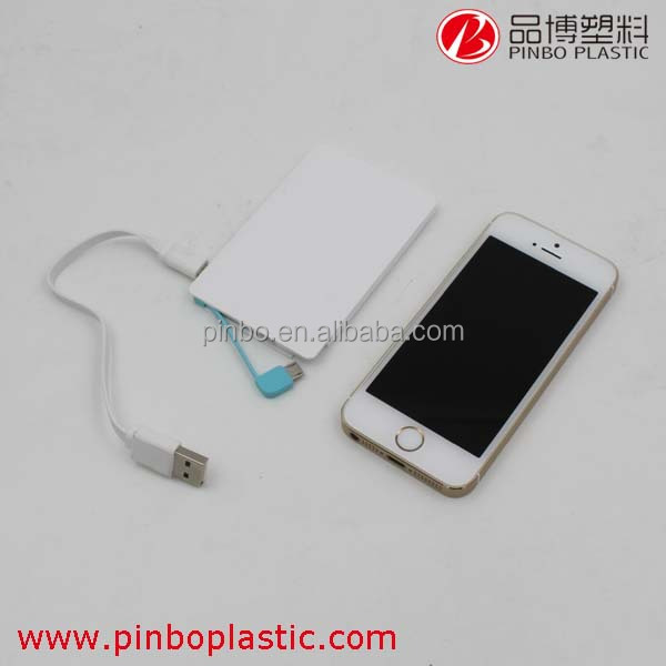 Credit card size power bank, Unique and simple design built-in cable mobile phone power bank, super slim power bank