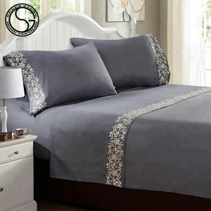 High Quality Embroidery Luxurious Microfiber 4PC Bed Sheet Set
