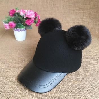 2017 Winter Two Fur Pom Pom Ball Wool Felt Baseball Cap - Buy Fur ... e4149d22396