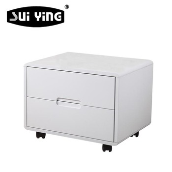 Contemporary Style White Lacquer Nightstand With Wheels 02