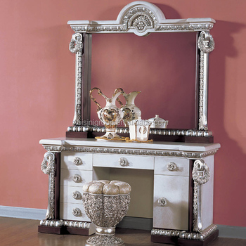 Antique Finish Silver And White Wood Carving Vanity Dresser With Mirror Bf12 07274d Dressing Table Clic Royal