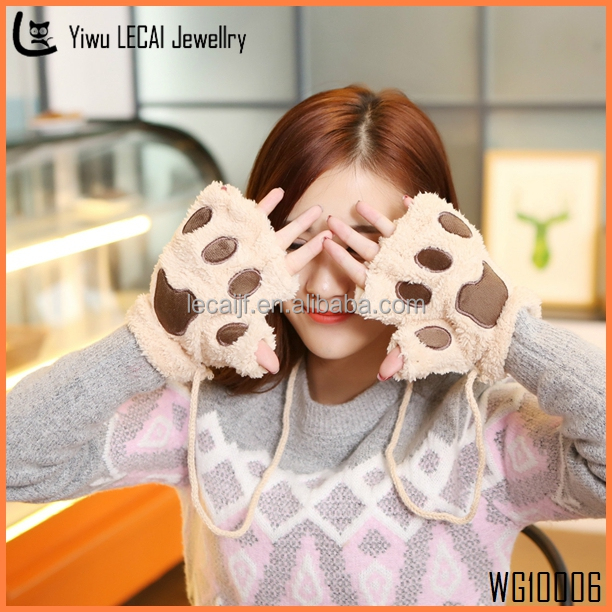 Winter Women Paw Gloves Fingerless Fluffy Bear Cat Plush Paw Lovely Gloves Soft Winter Half Finger New