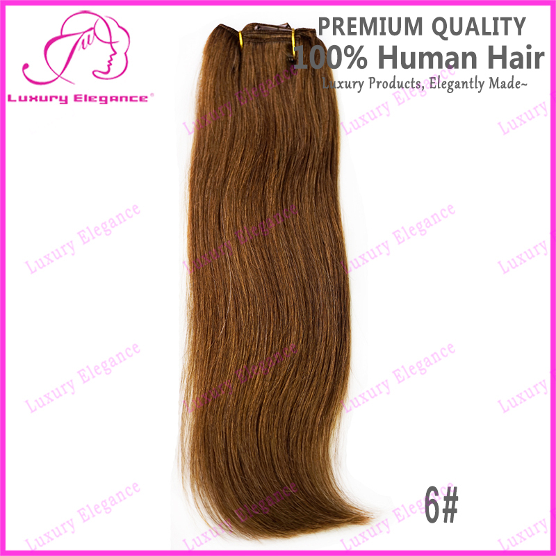14 18 Inch 6 Pieces 6 Light Brown Clip In Hair Extensions Brazilian