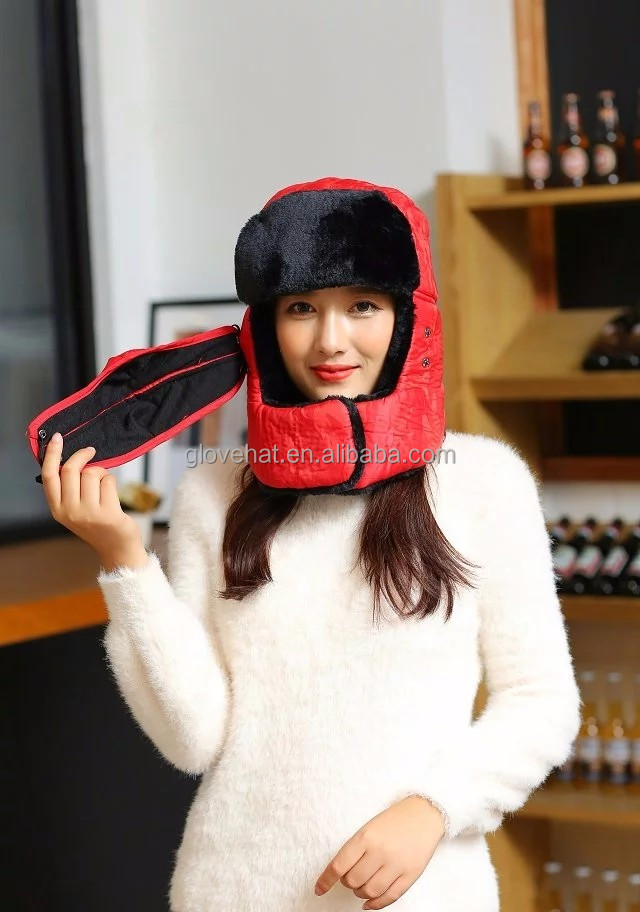 2016 New Style Winter Russian Foldable Aviator Bomber Hat PU Leather Faux Fur