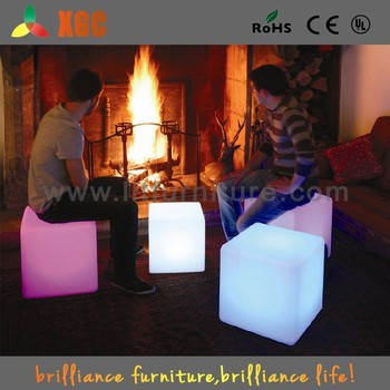 Led Light Up Outdoor Furniture/outdoor Bar Stools/illuminated Led Cube Chair