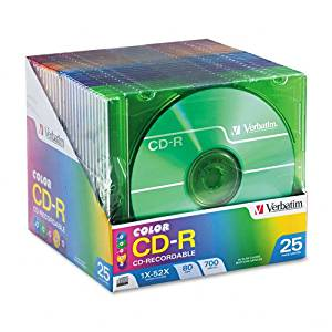 Verbatim : CD-R Discs, 700MB/80min, 52x, Slim Jewel Cases, Assorted Colors, 25/Pack -:- Sold as 2 Packs of - 25 - / - Total of 50 Each