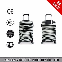 2016 hot sale waterproof abs pc dotted black hardside trolley bag and luggage