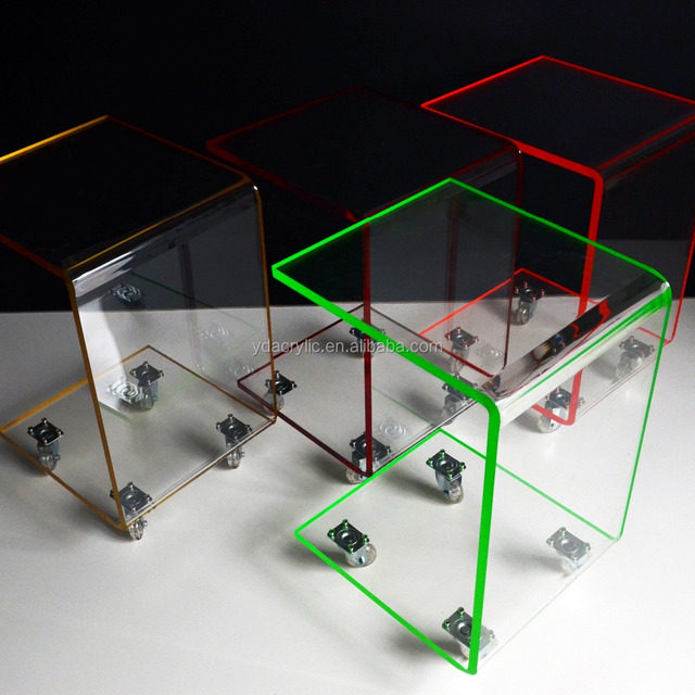 Acrylic Cheap Clear Movable Side/over Bed/coffee Table With Wheels