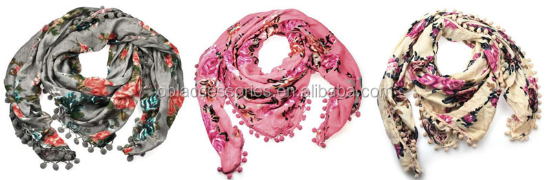Stock wholesale and retail viscose rose print with ball tassel scarf