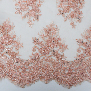 Free sample embroidered design textile heavy beaded lace fabric stocklot