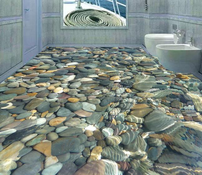 2014 new technology 3d floor murals for bathroom 3d floor for New tile technology