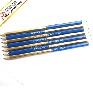 7inch Blue and Golden Multi Colored Two Color Lead Double Sided Color Pencil