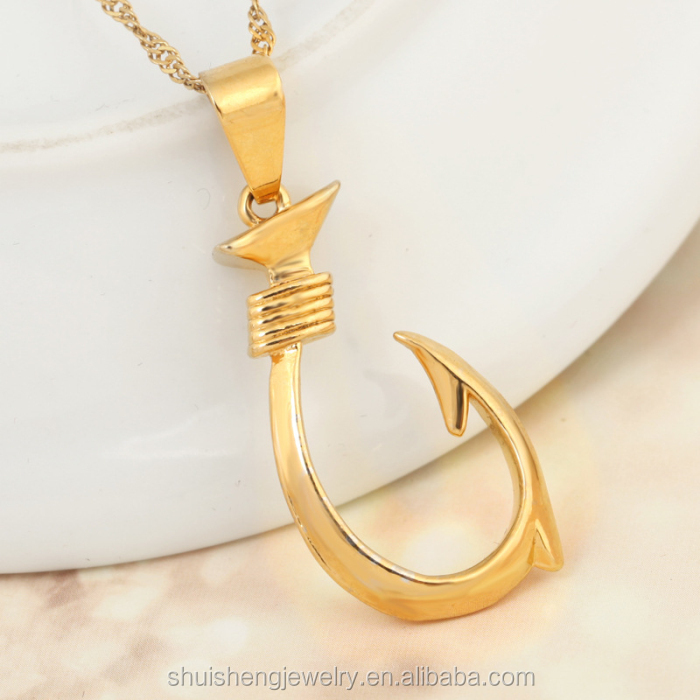 Gold fish hook pendant image collections home and for Gold fish hook necklace