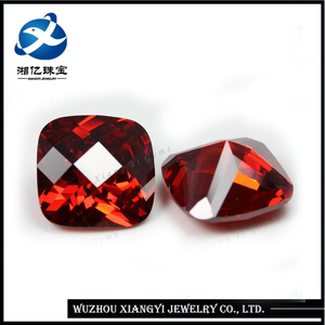 High quality fancy cut cz cushion shape rose zircon stone 11x11mm synthetic cubic zirconia