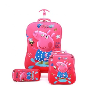 SHENGMING Wheeled School Bags for kids 6D Pokemon Trolley Backpack Children Travel Luggage 3pcs sets