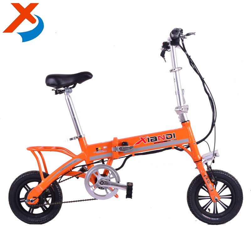 12 inch mini folding electric bike with hidden lithium battery and basket