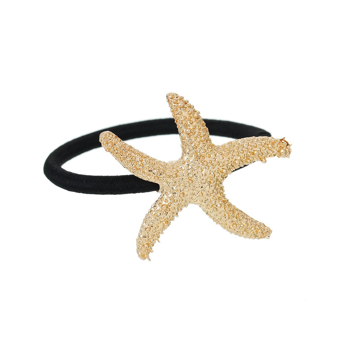 Nylon Cirlce Ring Hair Band Ponytail Holder Black Acrylic Imitation Pearl Choose Your Style From Menu (Starfish A)