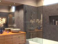 Frameless Bathtub Shower Screen, Swing Door, 60 X 33.5, 5/16 (8mm) Glass, Oil Rubbed Bronze Hinges