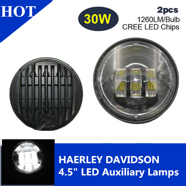 Harley Motorcycle Lamp 4.5inch 30w 1260LM Motorbike Led driving Fog light for Yamaha Honda