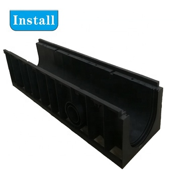 high quality u type linear surface plastic drainage channel with grating cover