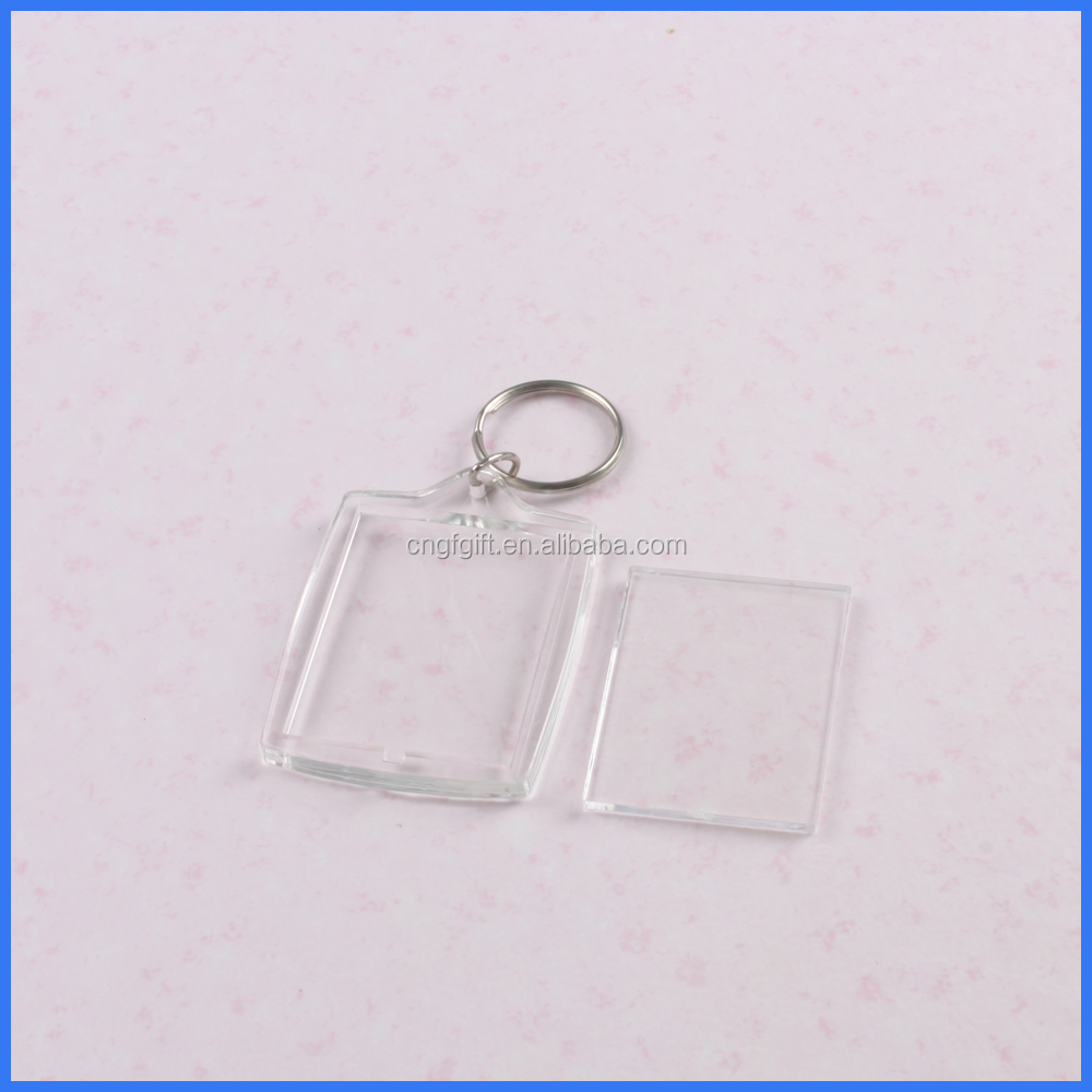 Promotion custom personalized blank acrylic photo frame key chain,clear plastic acrylic keychains