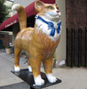 Fancy colourful resin cat statue for outdoor decoration