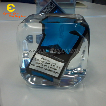 E-Creative crystal resin ice block blue ice glorified artificial acrylic cube for window display