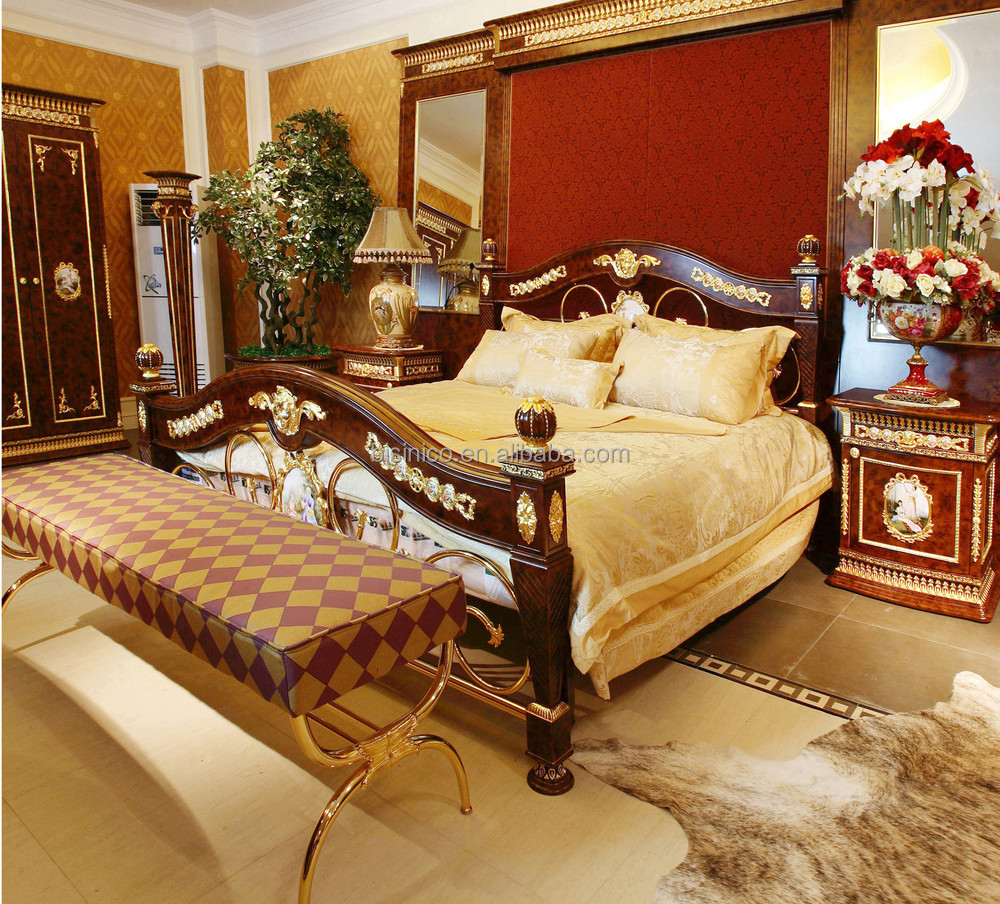Barroco Franc S King Size Dorado Lat N Montado Cama Porcelana  # Muebles Dorados