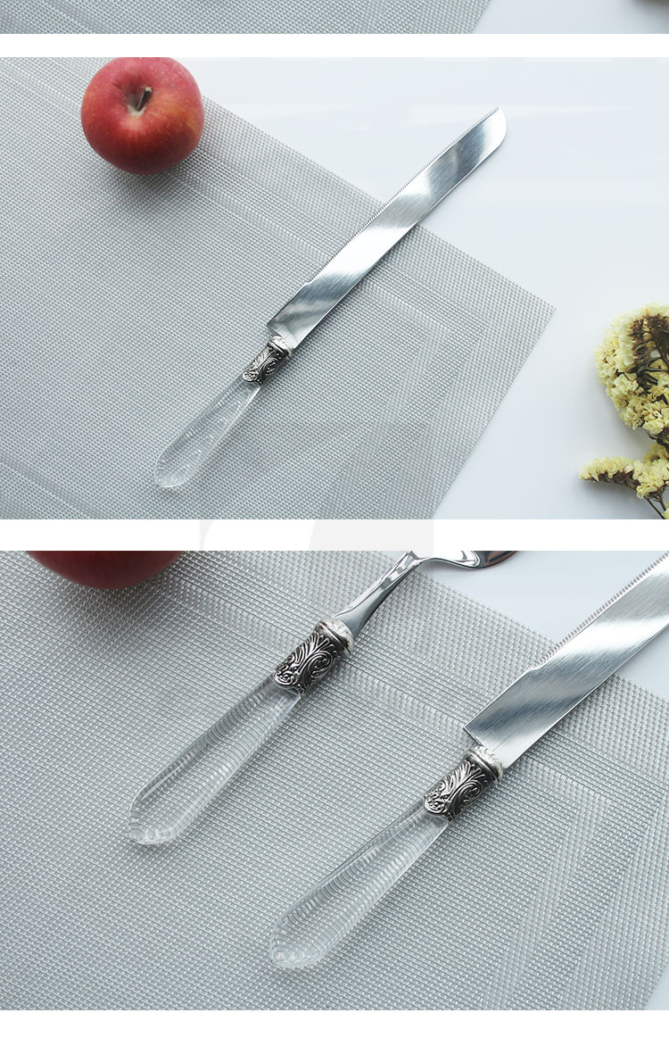 Cathylin FDA SGS plastic crystal handle stainless steel wedding cake knife and server set cake server