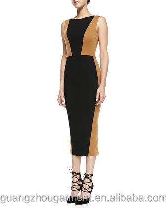 Negro vestido de moda Colorblock mayor por desnudo sin al informal italiana mangas y Ropa Mujeres aCax4