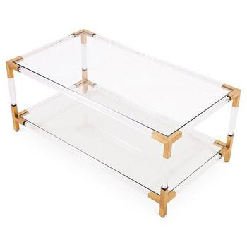 New Design Mirrored Corner Table Brass Classic Coffee Table Glass Coffee  Table