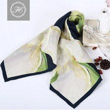 Floral Customized Design Square Digital Printing Silk Scarf for Ladies