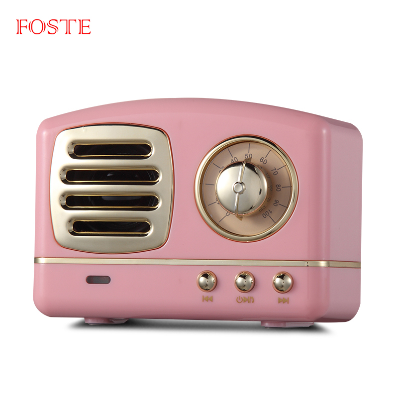 2018 Retro Style TV Shape FM radio mini 휴대용 무선 스피커 bluetooth 와 TF card/(touchless) 핸즈프리 콜 (high) 저 (sound 품질