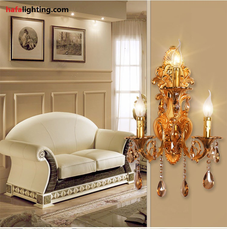 Fashion 3 Lamps Crystal Wall Lamp Candle Double Slider