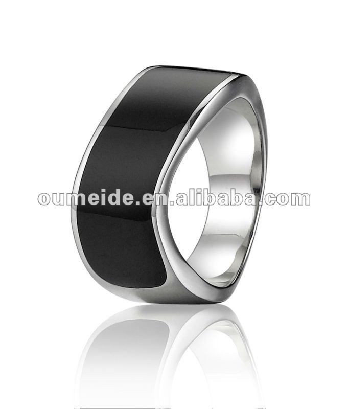 OEM/ODM Metal Factory-Different style triangle black enamel stainless steel ring