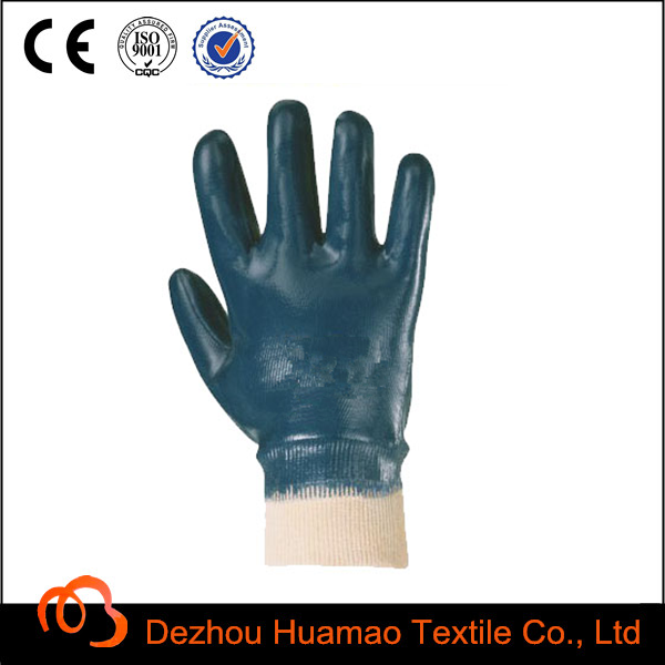 Cotton Jersey Nitrile fully coated Knit Wrist Industrial hand gloves