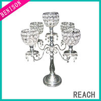 Free shipping 2017 Wholesale 5 Arms Silver Plated Table Candelabra Suitable For Wedding Table Decoration