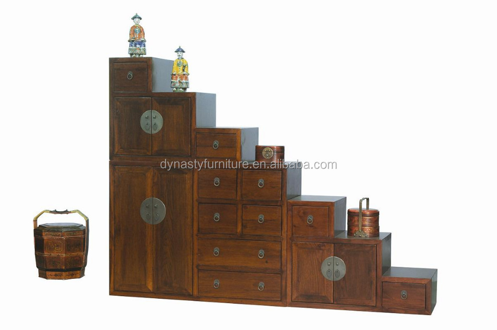 Wooden Step Cabinet Antique Wood Carved