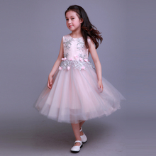 2017 Baby Girl Party Dress Children Frocks Designs Pink Flower Girl Dresses Patterns