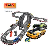 Kids fast speed rc racing car track 1/43 kids plastic toy race mini slot car racing track