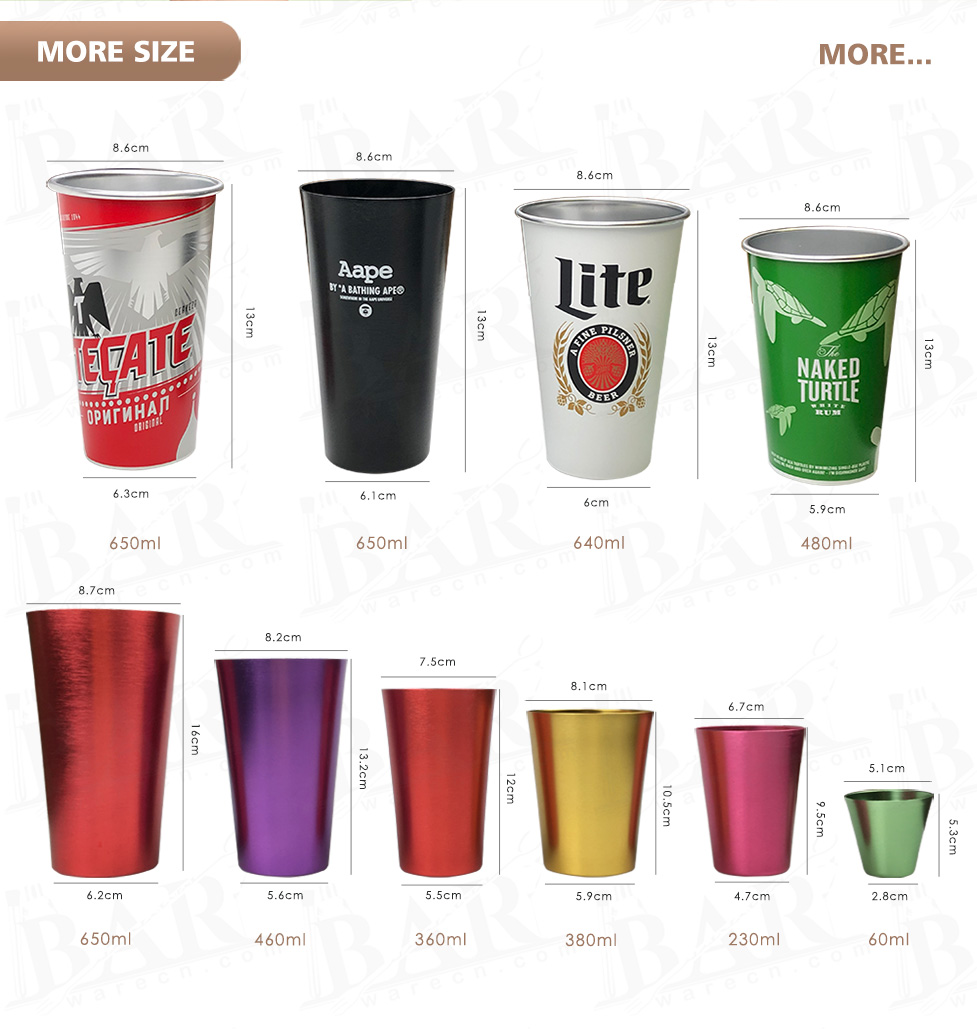 Aluminum tumblers of various sizes