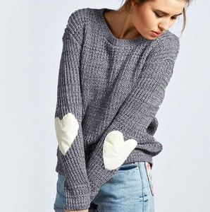 2018 Oversized Love my heart Sweater Women Knitted Pullover Warm Sweater Female Stripe Autumn Loose Stripped KNIT SWEATER