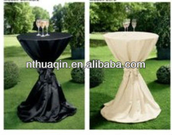 Satin Bistro Table Cover 100 Polyester Bar Cloth High Standing