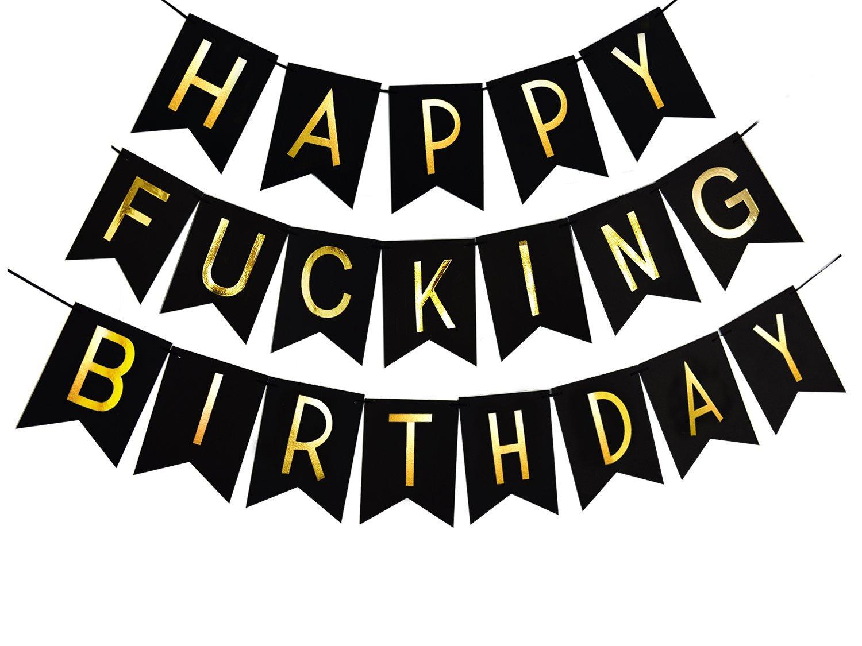 Threemart Happy FING Birthday Decorations BannerFunny 21st 30th 40th 50th Black Premium Quality